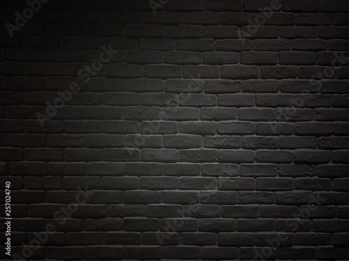 Foto op Plexiglas Historisch geb. Black colored brick wall. Vintage brick and block wall in room.