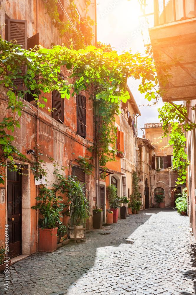 Fototapeta Beautiful street in Trastevere district in Rome, Italy.