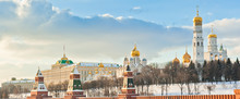 The Grand Kremlin Palace And Churches. Winter Day. Moscow. Russia