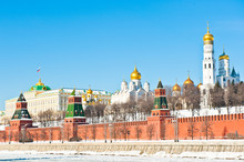 The Grand Kremlin Palace, Kremlin Wall And Churches. Sunny Winter Day. Moscow. Russia