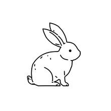 Cute Bunny Rabbit Line Art Vector Drawing, Hand Drawn Minimalism Style.  Vector Illustration