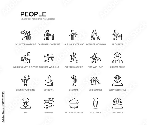 Photo  set of 20 line icons such as bestman, sit down, chemist working, vet with cat, farmer working, plumber working, at the office, sweeper salesman carpenter people outline thin icons collection