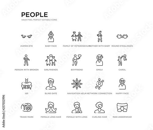 set of 20 line icons such as navigation helm, blind date, hip, emoji, boyfriend, girlfriends, person with broken arm, mother with baby in arms, family of heterosexual couple, baby face Wallpaper Mural