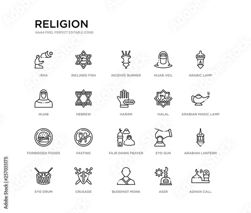set of 20 line icons such as fajr dawn prayer, fasting