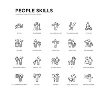 Set Of 20 Line Icons Such As S...