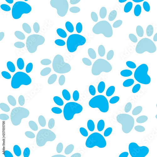 fototapeta na lodówkę Paw blue print seamless. Vector illustration animal paw track pattern. backdrop with silhouettes of cat or dog footprint.