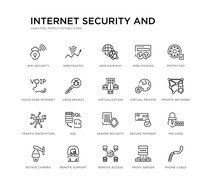 Set Of 20 Line Icons Such As Server Security, Sql, Traffic Encryption, Virtual Private Network, Virtualization, Virus Search, Voice Over Internet Protocol, Web Cookies, Web Gateway, Web Traffic.