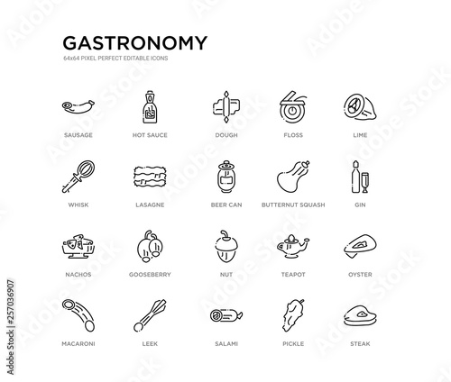 Fotografering set of 20 line icons such as nut, gooseberry, nachos, butternut squash, beer can, lasagne, whisk, floss, dough, hot sauce