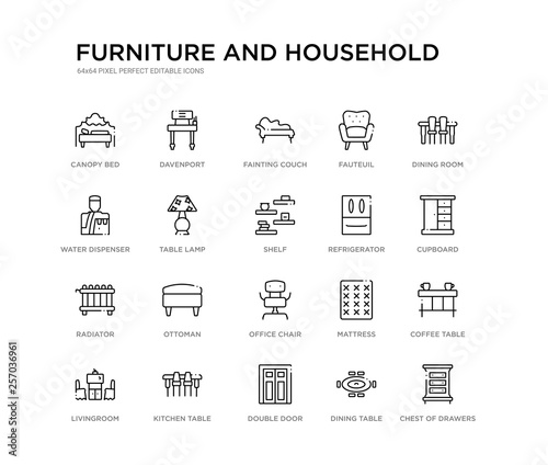 Brilliant Set Of 20 Line Icons Such As Office Chair Ottoman Radiator Cjindustries Chair Design For Home Cjindustriesco