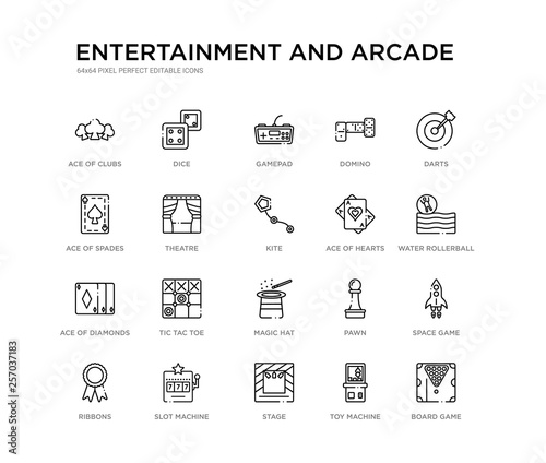Cuadros en Lienzo  set of 20 line icons such as magic hat, tic tac toe, ace of diamonds, ace of hearts, kite, theatre, ace spades, domino, gamepad, dice