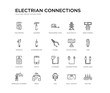 set of 20 line icons such as charger, apple, fuse box, solar panel, pliers, screwdriver, wrench, electricity, measuring tape, hammer. electrian connections outline thin icons collection. editable