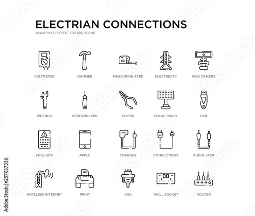 set of 20 line icons such as charger, apple, fuse box, solar panel, pliers,  screwdriver, wrench, electricity, measuring tape, hammer  electrian  connections