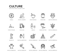 Set Of 20 Line Icons Such As N...