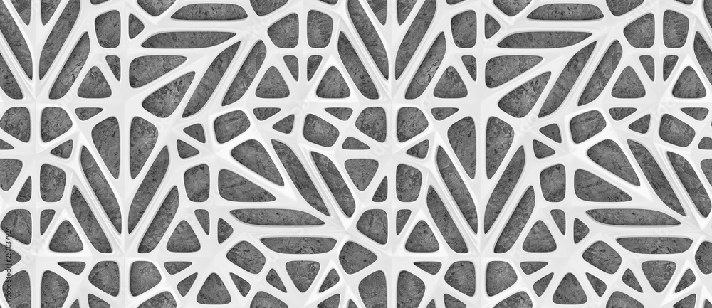 Fototapety, obrazy: 3d white lattice tiles on gray concrete background. High quality seamless realistic texture.