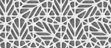 3d White Lattice Tiles On Gray...