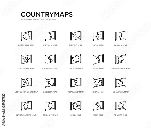 set of 20 line icons such as thailand map, georgia map, united