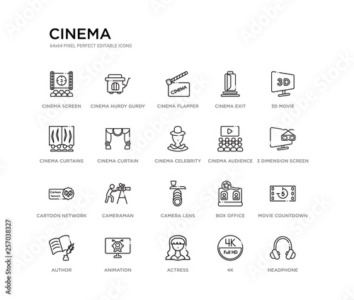 Photo  set of 20 line icons such as camera lens, cameraman, cartoon network, cinema audience, cinema celebrity, cinema curtain, curtains, exit, flapper, hurdy gurdy