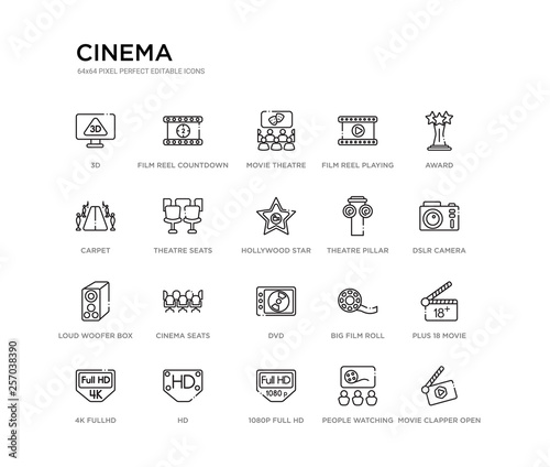 Photo  set of 20 line icons such as dvd, cinema seats, loud woofer box, theatre pillar, hollywood star, theatre seats, carpet, film reel playing, movie theatre, film reel countdown number 2