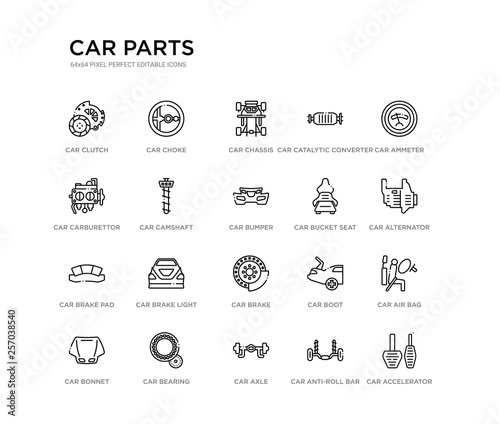 set of 20 line icons such as car brake, car brake light, car brake pad, bucket seat, bumper, camshaft, carburettor, catalytic converter, chassis, choke. parts outline thin icons collection. editable