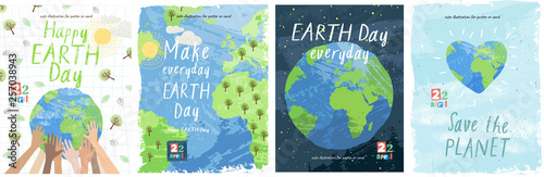 Happy Earth Day! Vector eco illustration for social poster, banner or card on the theme of saving the planet. Make everyday earth day #257038943
