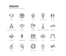 Set Of 20 Line Icons Such As F...