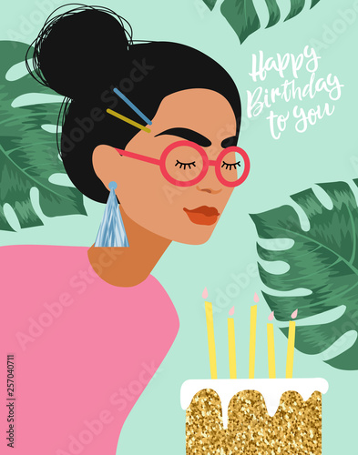 Canvas-taulu Happy Birthday! Cute vector illustration for congratulations, card, poster or banner