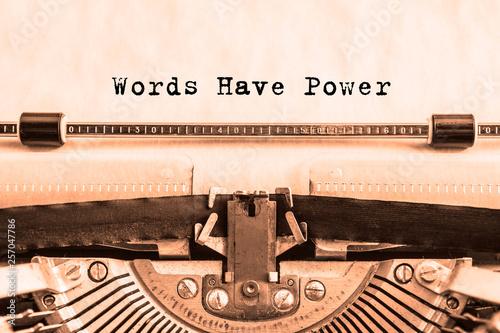 Cuadros en Lienzo Words Have Power printed on paper on a vintage typewriter