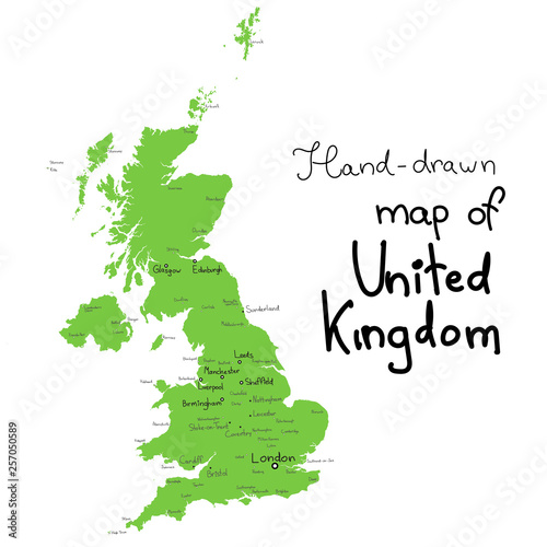 Photo UK vector map. Hand drawn vector map of United Kingdom