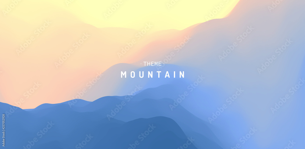 Fototapety, obrazy: Landscape with mountains and sun. Sunrise. Mountainous terrain. Abstract background. Vector illustration.