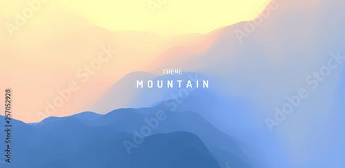 Fototapeta Landscape with mountains and sun. Sunrise. Mountainous terrain. Abstract background. Vector illustration. obraz