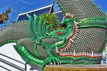 Great Naga Statue, King Of Nagas,Serpent. Naga Statue At Banden Temple, Chiang Mai. Thailand.