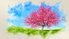 Watercolor Spring Landscape Wi...