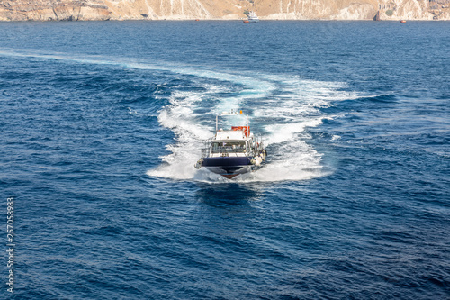 Photo Large surveillance boat sails at full speed