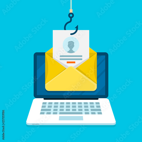 Fotomural  Phishing email concept with laptop computer, email login page and fishing hook