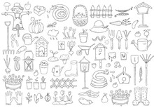 Set Of Cartoon Gardening Items A White Background.