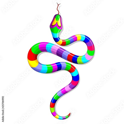 Spoed Foto op Canvas Draw Snake Psychedelic Rainbow Fantasy Vector illustration