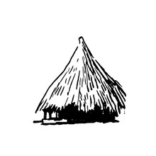 Hand Drawn Sketch Of African Village House Black On White Background