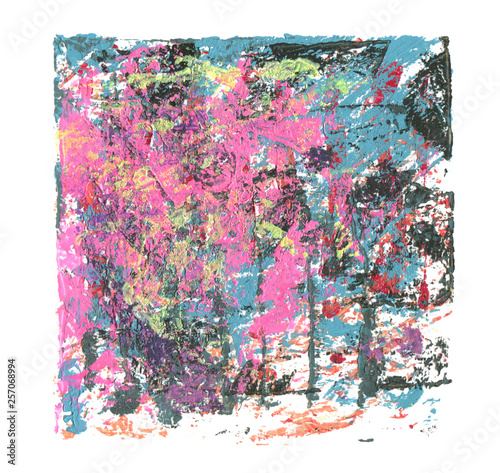 Abstract color acrylic and watercolor painting. Monoprinting template. Canvas texture background.