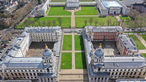 Aerial bird's eye view photo taken by drone of iconic Greenwich University in Pa Fototapeta
