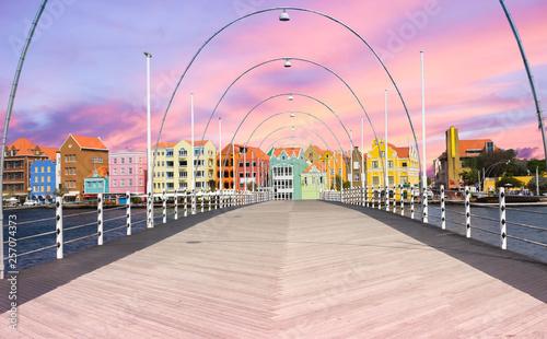 Floating pantoon bridge in Willemstad, Curacao, evening time Wallpaper Mural