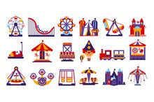 Amusement Park Elements, Ferris Wheel, Circus, Carousel, Attractions Set Vector Illustration