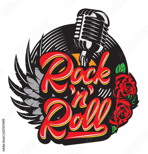 Cuadros en Lienzo Vector stylish print template on the theme of rock with microphone, wing, vinyl,