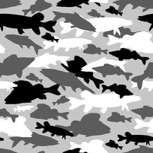 Seamless Vector Pattern Of Fishing Camouflage. Grey Black Camo Of Freshwater Fish