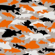 Seamless Vector Pattern Of Fishing Camouflage. Orange Black Camo Of Freshwater Fish