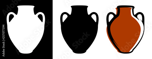 Photo Vector ancient amphora image in brown color and silhouettes in white and black background isolated in flat style
