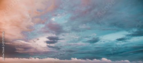 Exotic Deep Teal Blue Sunset Sky