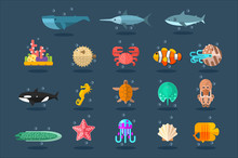 Underwater Animals Set, Lea Li...