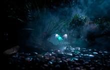 Fantasy Glowing Mushrooms In M...