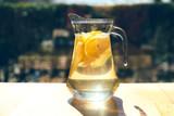Lemonade in a glass decanter