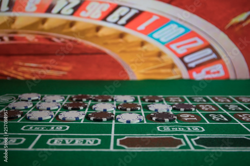 Photo  Casino element isolation on the colorful, Slot machine, Roulette while, Dice, Ca